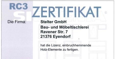 Stelter Haustür bis RC3 Zertifiziert